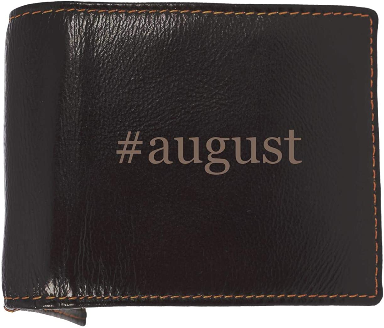 #august - Soft Hashtag Cowhide Genuine Engraved Bifold Leather Wallet 61VC5B42B4GL