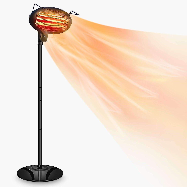 Patio Heater-1500W Outdoor Heater,Outdoor Patio Heater,Outdoor Electric Heater,Infrared Heater,w/3 Power Levels Patio Heater For Overheat Protection,Tip-Over,LED display,Weatherproof,Garage,Garden