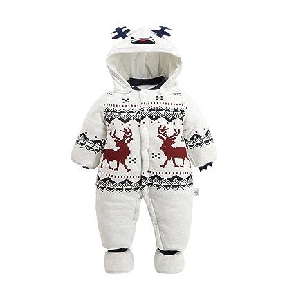 yipinco7285 recién nacido bebé mono Pelele de ciervos ropa de abrigo Invierno con Capucha Disfraz As
