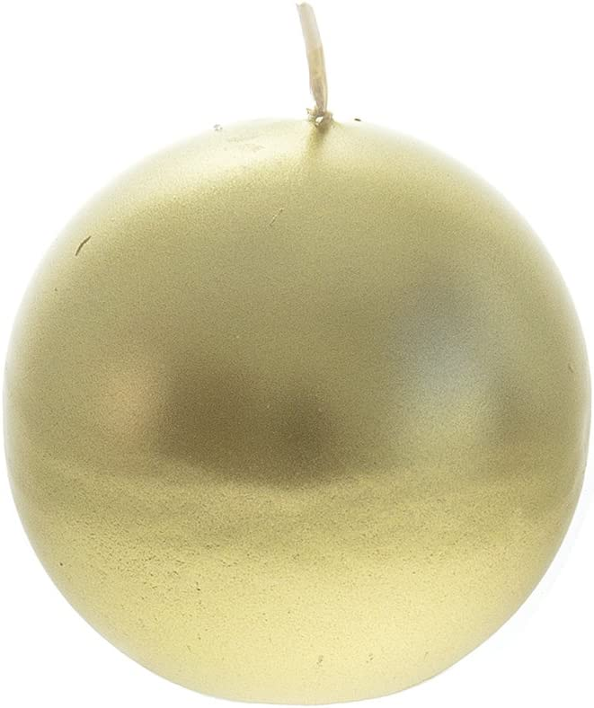 Mega Candles Unscented Gold Round Ball Candle, Hand Poured Premium Wax Candles 3 Inch Diameter, Home Décor, Wedding Receptions, Baby Showers, Birthdays, Celebrations, Party Favors & More