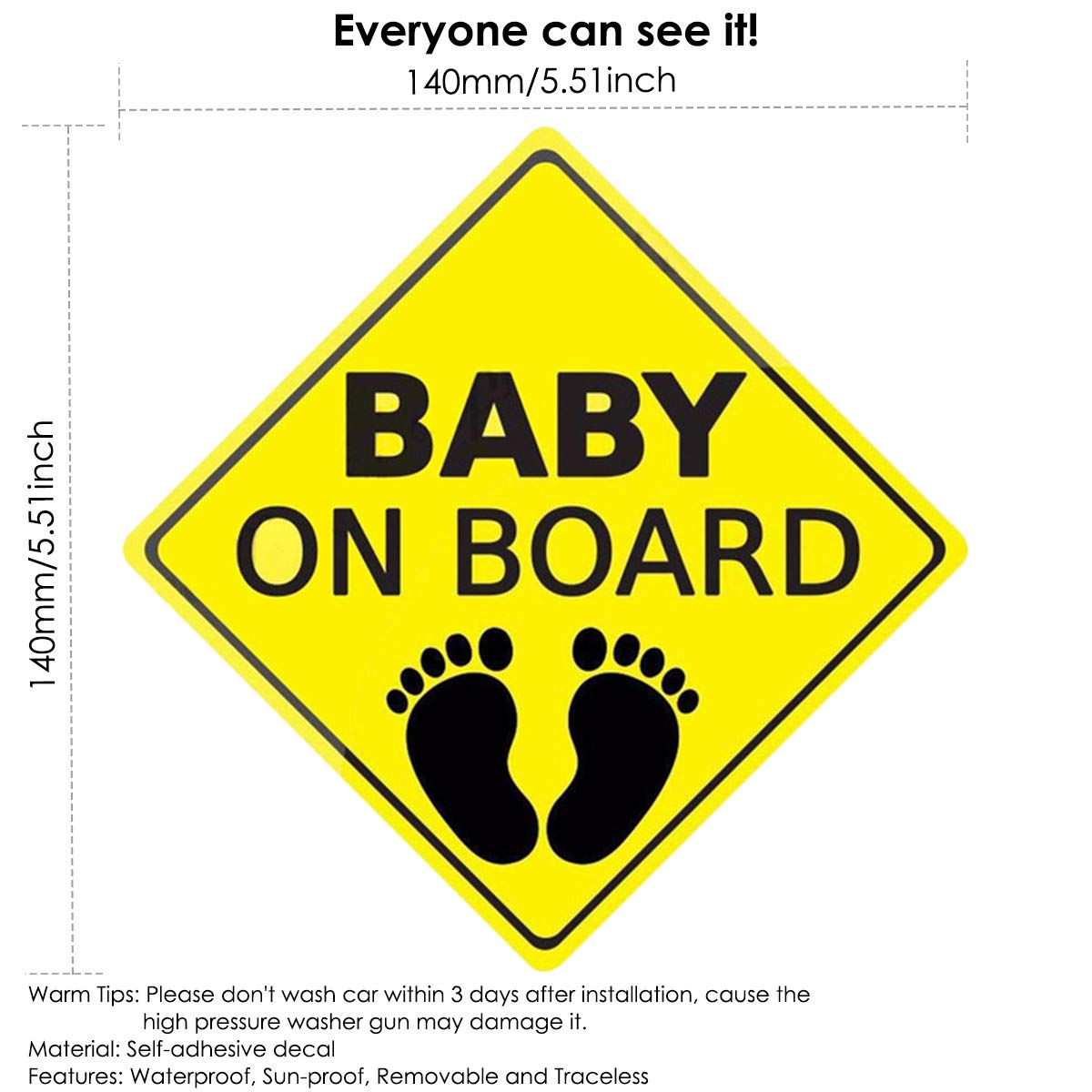 2 st/ücke Baby an Bord Aufkleber f/ür Auto,Autoaufkleber Sicherheitsschilder Selbstklebend Einfach zu installieren Wasserdicht