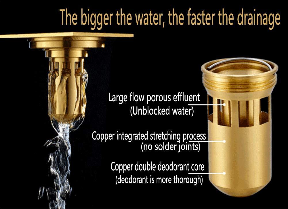 Brass Floor Drain Shower Drain Floor Drain - Square Kitchen Waste Drain Bathroom Deodorant Grate Drain Strainer Cover Grate,B by GPF (Image #3)