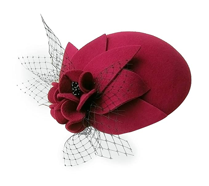 Tea Party Hats – Victorian to 1950s Lawliet Womens Socialite Flower Black Pearl Wool Felt Fascinator Pillbox Tilt Hat A044 $26.99 AT vintagedancer.com