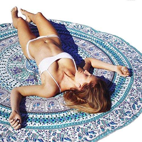 AutumnFall® Round Beach Pool Home Shower Towel Blanket Table Cloth Yoga Mat (A)