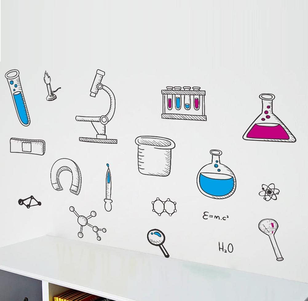 BIBITIME Science Laboratory Wall Decals Vinyl Chemical Element Tool Stickers for School Classroom Nursery Bedroom Children Student Study Teens Kids Room Decor DIY Home Art Decorations