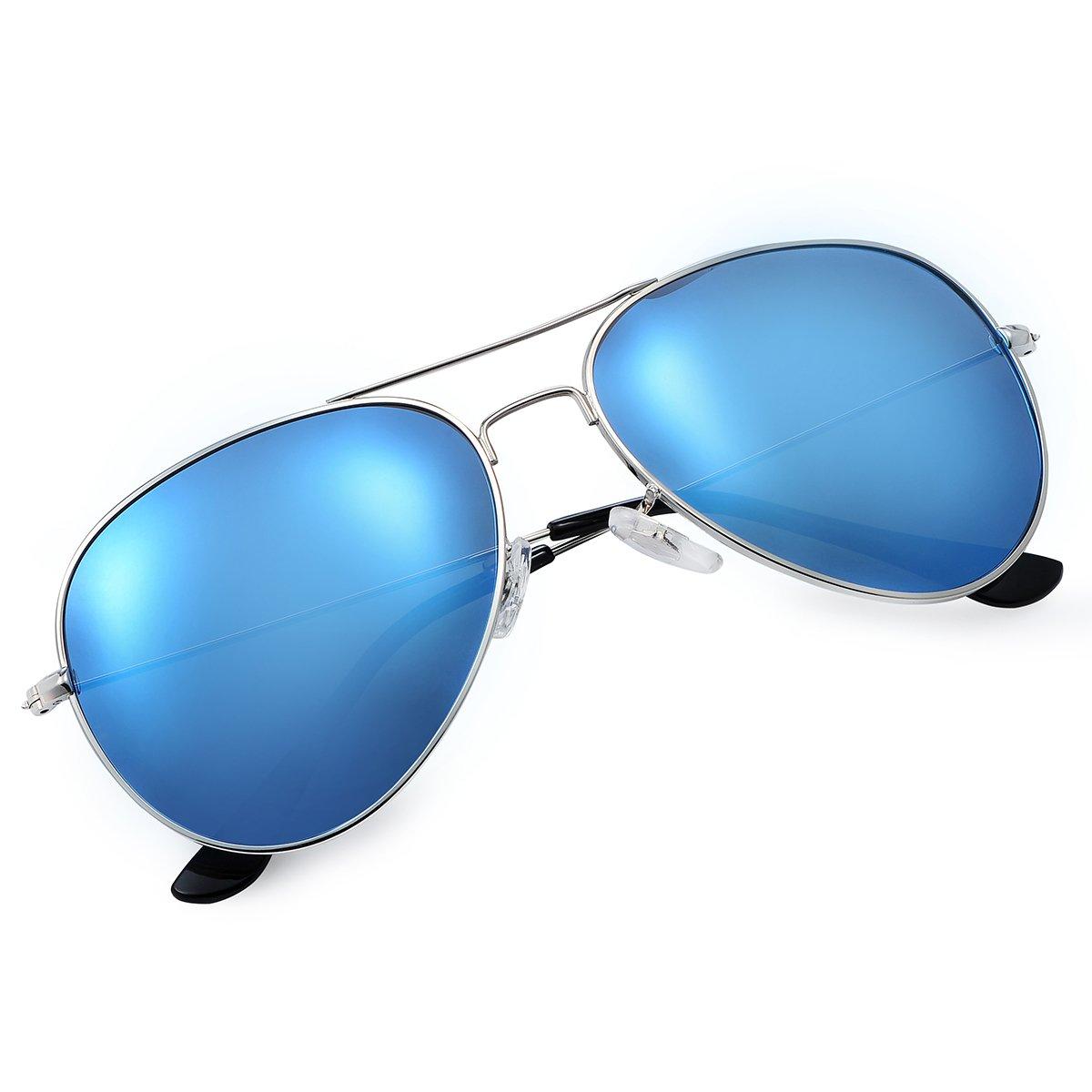 Yveser Gafas de Sol UV400 polarizadas para Hombres y Mujeres Yv3025 (Lente Azul/Marco Plateada): Amazon.es: Deportes y aire libre