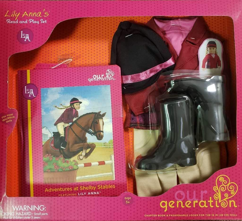 """18/"""" Doll HORSE RIDING Deluxe READ and PLAY SET Book+Outfit"""