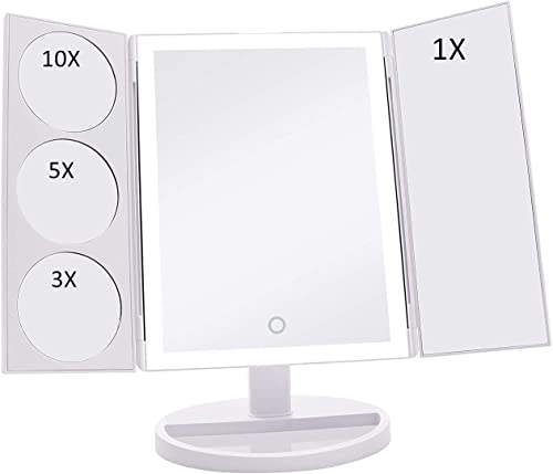 TOP4EVER Makeup Mirror with LED Lights, 3 5 10X Magnification Makeup Vanity Mirror 38 LED Lights, Dimmable One Touch Control 180 Rotation Hollywood Style Multi-Use Makeup Vanity Cosmetic Mirrors