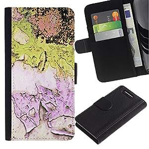 Stuss Case / Funda Carcasa PU de Cuero - Chipped Paint Pink Pared Verde Worn - Sony Xperia Z3 Compact