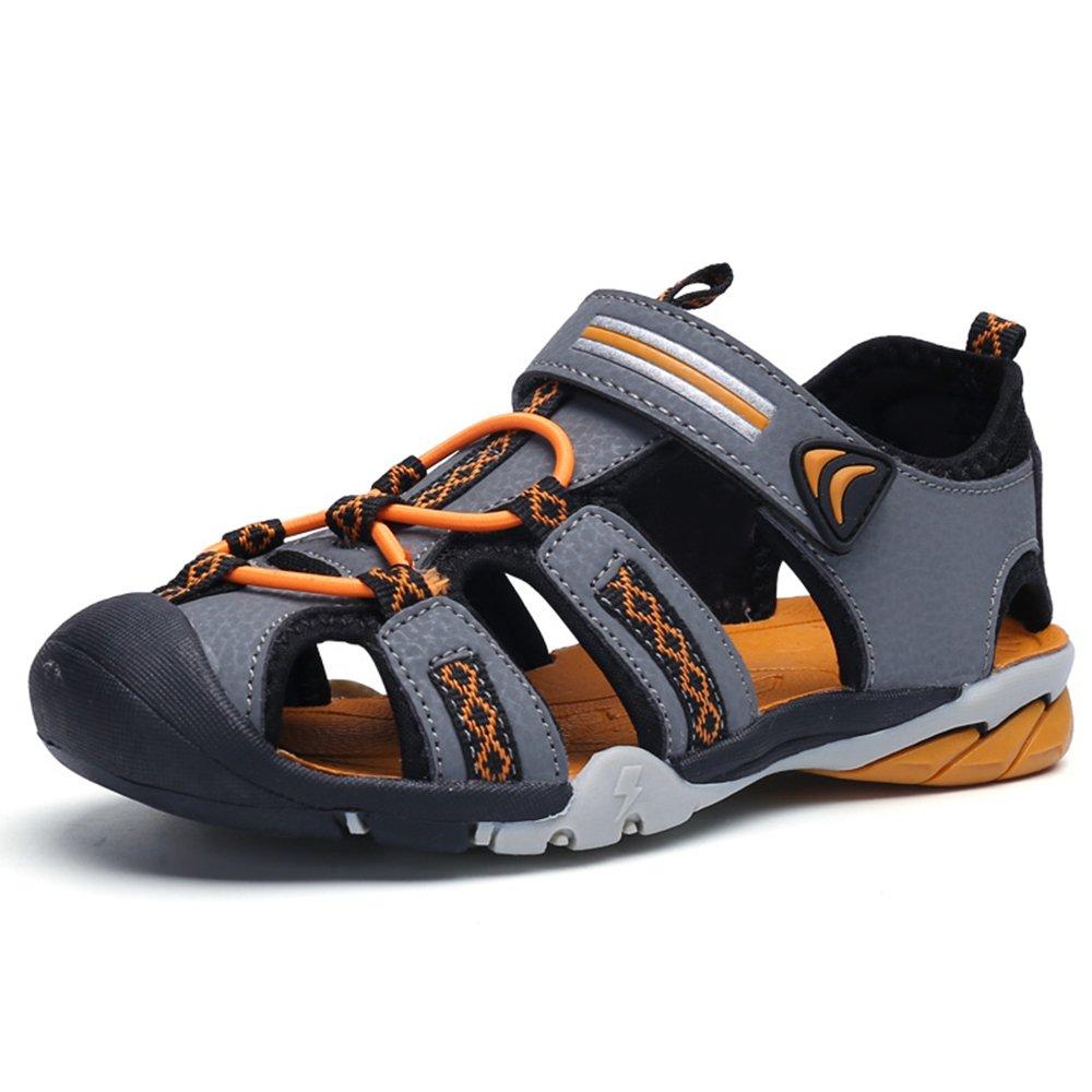 JACKSHIBO Boy's Girl's Outdoor Athletic Closed-Toe Strap Sandals (Toddler/Little Kid/Big Kid),Grey,11.5 M US Little Kid