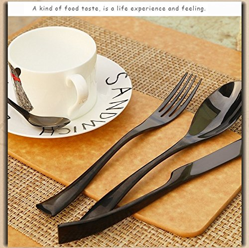 4 Piece Stainless Steel Flatware Cutlery Set with Mirror Finish Including Dinner Knife, Dinner Spoon, Dinner Fork and Tea Spoon (black pearl)