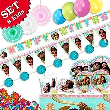 Vaiana Fiesta Decoración Set XL de 60 piezas, decoración ...