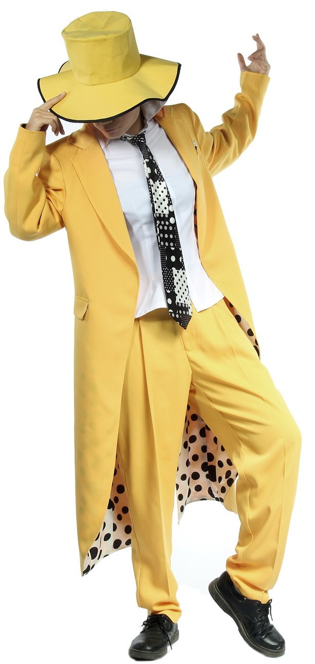 Halloween Fancy Dress Men's Yellow Tailcoat Tuxedo Tail Suit with Hat M