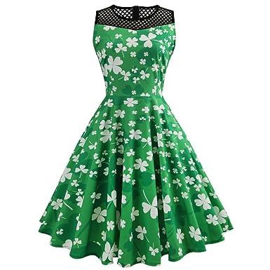 Là Vestmon Mesh Patchwork Dress Four-Leaf Clovers Print Sleeveless Swing Cocktail Dresses