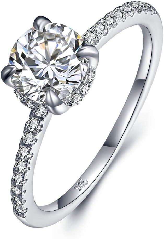 NOBRAND Creativo Moda de joyería Temperamento pequeño Anillo clásico Anillo 5A propuesta de circón Diamante de Cuatro Garras Compromiso (Color : White, Size : Number 9)