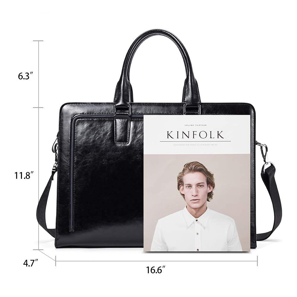 BOSTANTEN Women Genuine Leather Briefcase Tote Business Vintage Handbag 15.6'' Laptop Shoulder Bag Black by BOSTANTEN (Image #5)