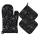 100% Cotton Kitchen Everyday Basic Terry Heat Resistant Coaster 1 Oven Mitt & 2 Pot Holder Set For Cooking And Baking Black