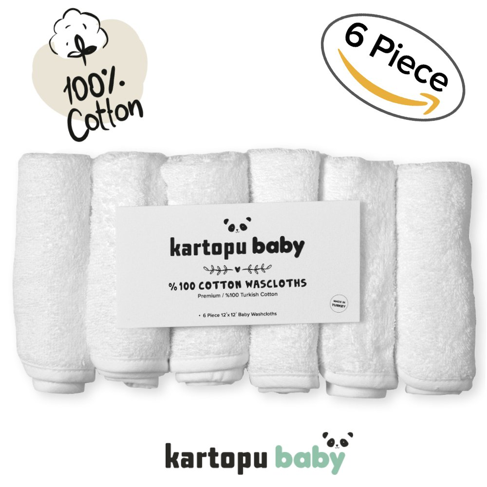 "%100 Turkish Cotton Baby Washcloths (6-pack) - Premium Extra Soft & Absorbent Towels For Baby's Sensitive Skin - Perfect 12""x12"" Reusable Wipes - Excellent Baby Shower"