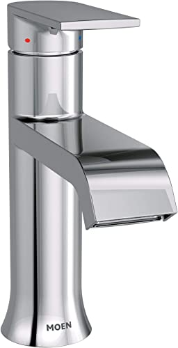 Moen 6702 Genta High-Arc Single-Handle Bathroom Faucet with Drain Assembly, Chrome Renewed
