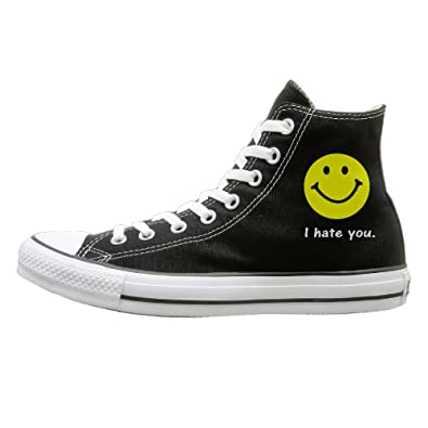 6d2df6fd1993 Qiang Adult I Hate You Smiley Face High Top Canvas Shoes Lace Up Sneakers 44