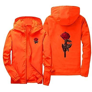 677908e9425a Yunisu Men Lightweight Hooded Windbreaker Embroidery Rose Full Zip ...