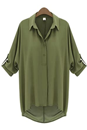 bc31639169b8d4 Zumeet Women Relaxing Loose Formal Shirt and Blouse Army Green Color at Amazon  Women s Clothing store