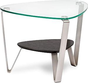 BDI Dino Glass End Table, Espresso Stained Oak