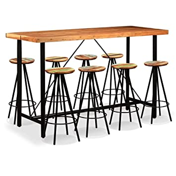 Festnight Bar Set 9 Pieces Solid Sheesham And Reclaimed Wood