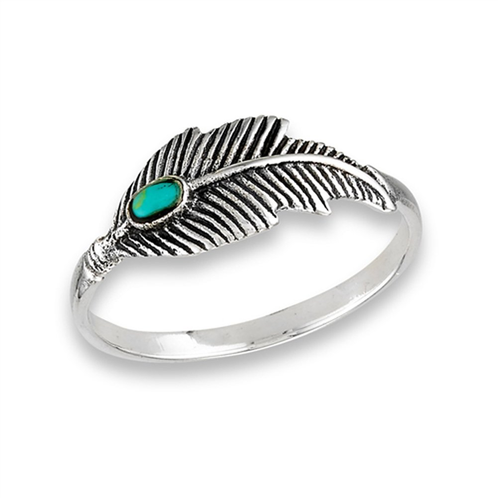 Simulated Turquoise Oxidized Feather Ring .925 Sterling Silver Tree Leaf Band Size 10