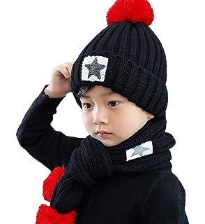 582abed5e03 T WILKER 2Pcs Kids Winter Knitted Hats+Scarf Set Warm Fleece Lining Cap for  5