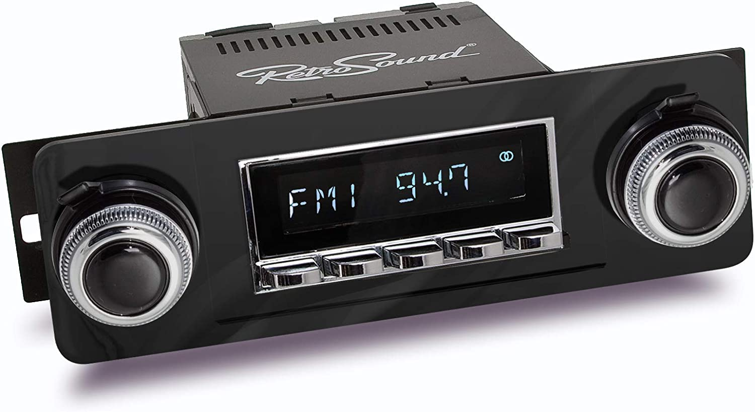 Chrome Face and Buttons and Black Bezel RetroSound HC-219-23-93 Hermosa Direct-Fit Radio for Classic Vehicles