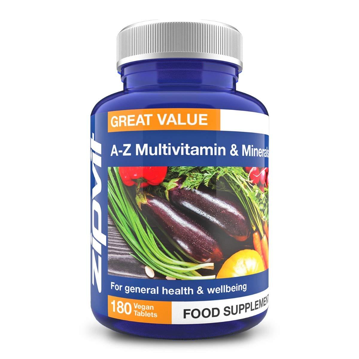 Vegan Multivitamins & Minerals A-Z Formula, 180 Tablets. Includes Vitamin B12 & D3, Provides 25 Vitamins, Minerals & Micronutrients. Vegetarian Society Approved.