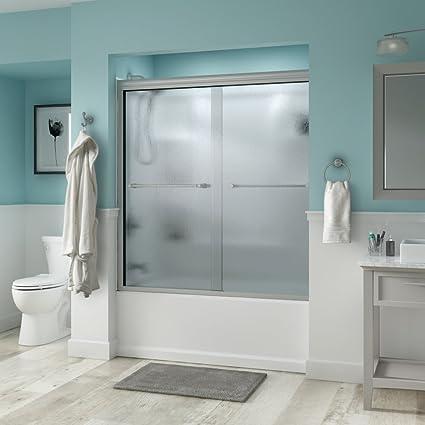 Delta Shower Doors SD3276622 Windemere 60\u0026quot; Semi-Frameless Traditional Sliding Bathtub Door in Nickel & Delta Shower Doors SD3276622 Windemere 60\
