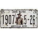 Midsouth Products White John Wayne 1907 American Hero Vintage License Plate