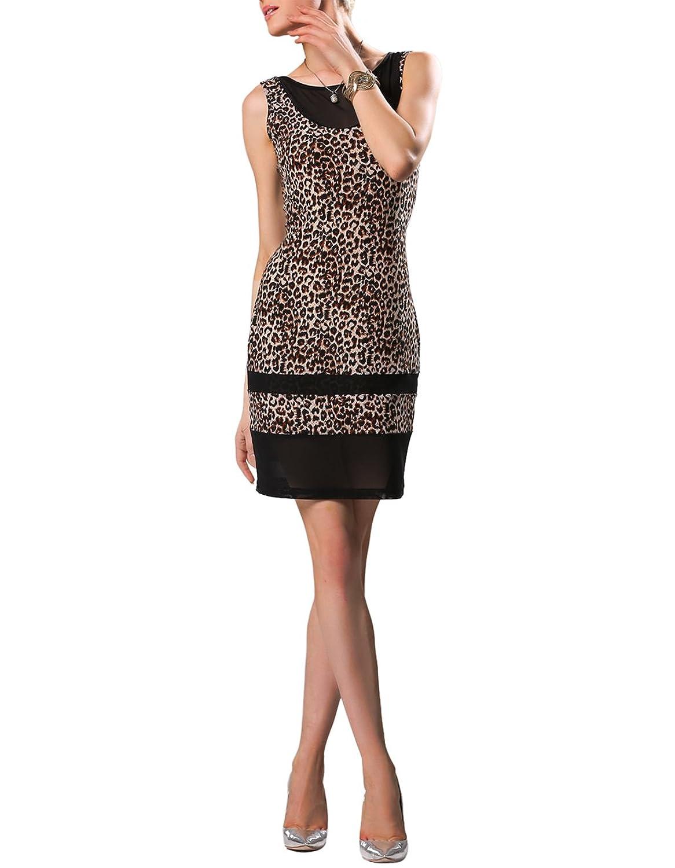 eshion Women's Sleeveless Sexy O-Neck Leopard Print Bodycon Party Evening Dresses