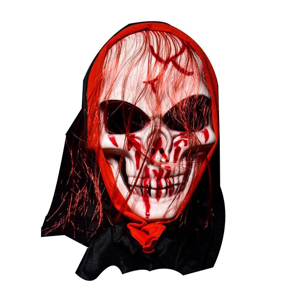 Allhallows Eve Cloak - Halloween Mask Bar Dance Horror Scary Hair Skull Ghost - Masque Block - 1PCs