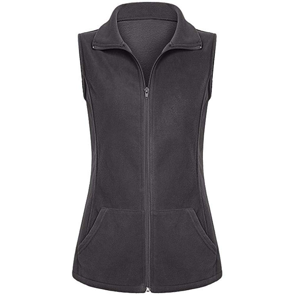 Women Casual Zip Up Front Lightweight Fleece Vest Sleeveless Pockets Jacket Coat