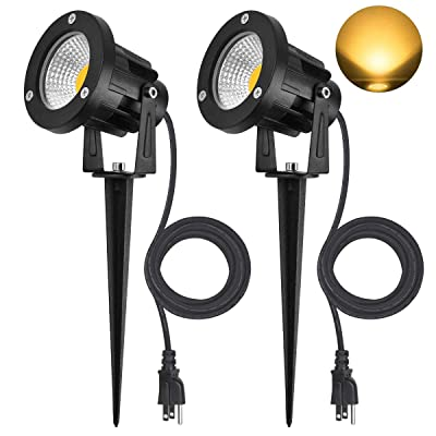 SanGlory 7W LED COB Landscape Spotlights, IP65 Waterproof Garden Landscape Lighting with 6.5ft/2M UL LISTED Outdoor Rubber Wire and US Plug, Warm White 3000K Outdoor Spotlights Pathway Lights, 2 Packs : Garden & Outdoor