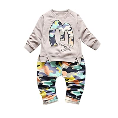 d9c6153c32b Elevin(TM)Baby Girls Boys Cotton Long Sleeve Pullover Hooded+Camouflage  Pants Sets