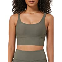 Ouber Women's Ribbed Sports Bras High Impact Strappy Back Fitness Yoga Bra