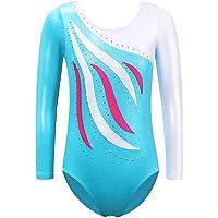 ZNYUNE Fille Justaucorps Gymnastique Imprimé Classique Multicolor sans Manches/Manches Longues 3-12 Ans