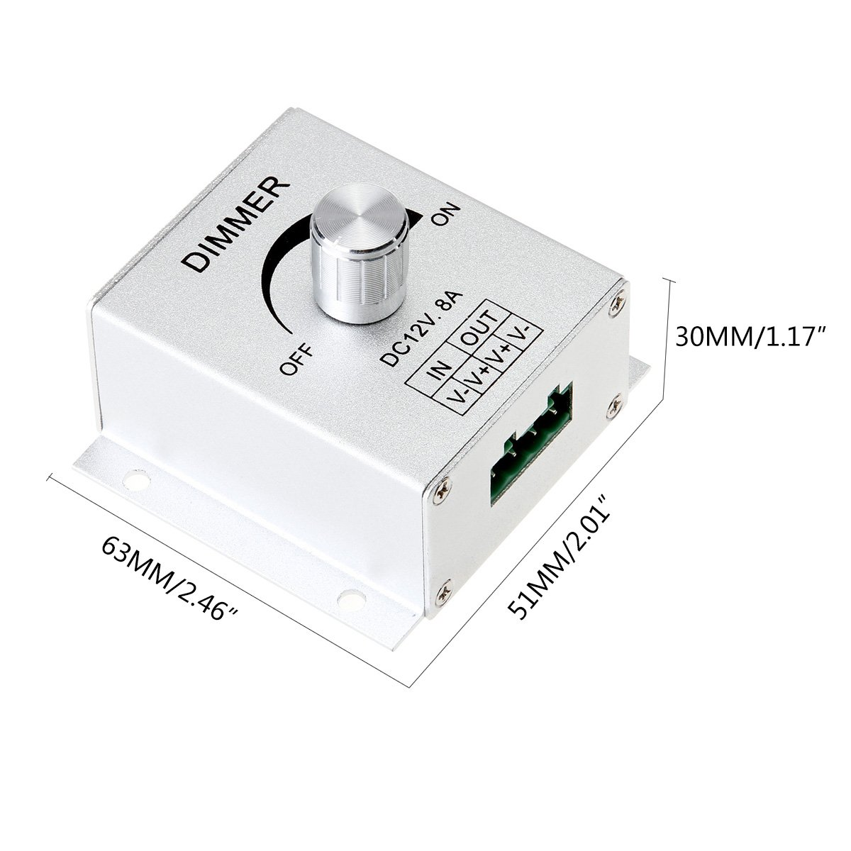 Supernight Aluminium Case Dc12v 8a Single Channel Knob Dimmer Control Voltage Polarity Changer Controller For Led Strip Bulb Lamp Light 5050 3528 5630 Color