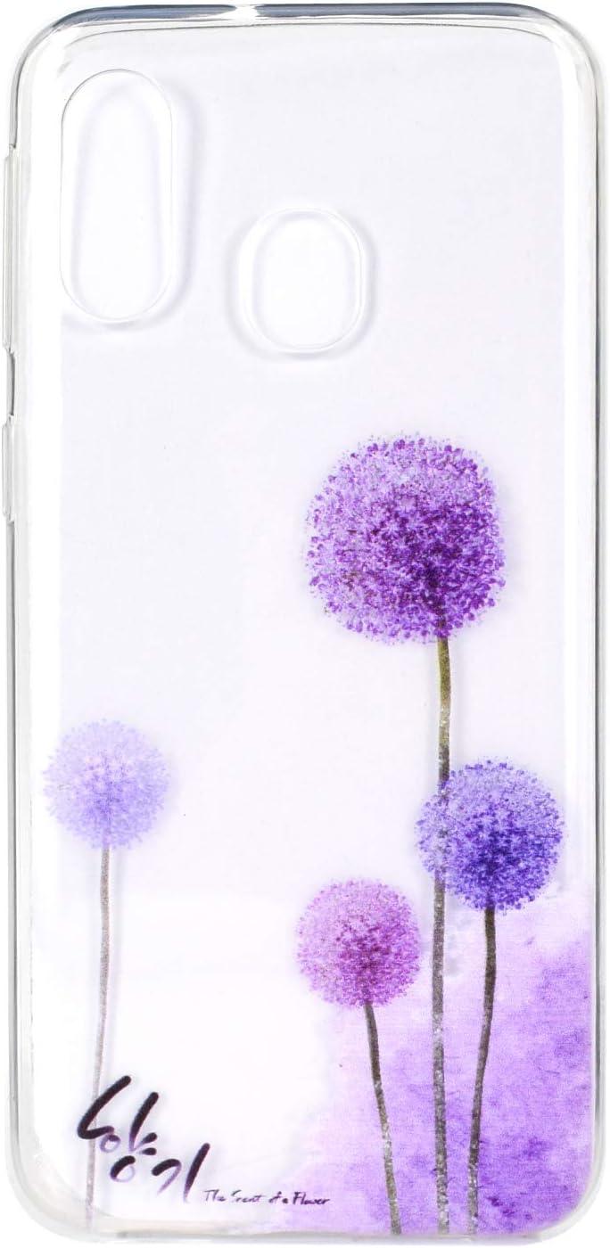 Flor Mariposa HopMore Funda Carcasa para Samsung Galaxy A40 Silicona Transparente Dibujos Bonita Flor Elegante Carcasas Ultrafina Resistente Case Antigolpes Cover Protecci/ón