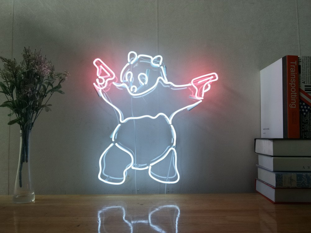 Panda Gun Real Glass Neon Sign For Bedroom Garage Bar Man Cave Room Home Decor Handmade Artwork Visual Art Dimmable Wall Lighting Includes Dimmer