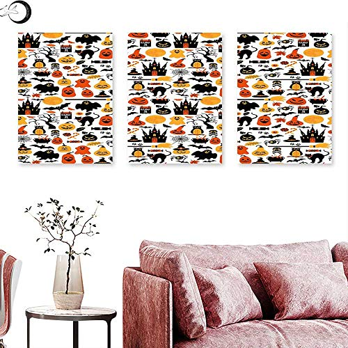 Halloween Living Room Home Office Decorations Halloween Icons Collection Candies Owls Castles Ghosts October 31 Theme triptych photo frame Orange Yellow Black triptych art canvas W 24