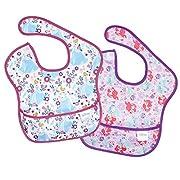 Bumkins Baby Bib, Disney Waterproof SuperBib 2 Pack, Princess (Ariel/Cinderella) (6-24 Months)