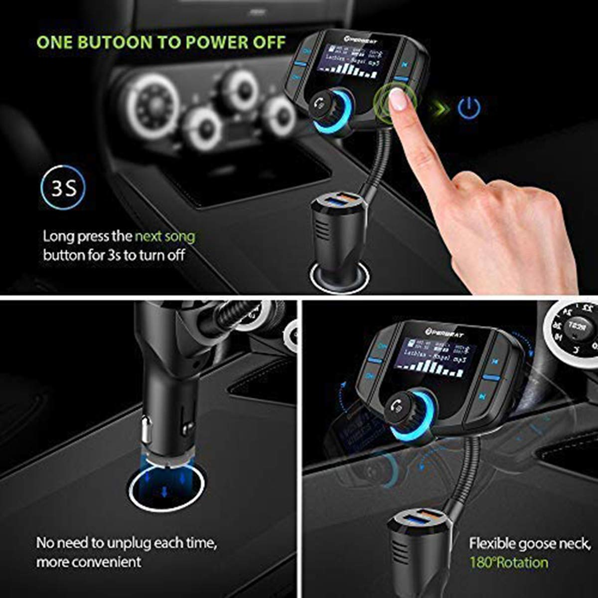 Perbeat Bluetooth FM Transmitter,Wireless In-Car Radio Stereo Adapter with QC3.0 USB Car Charger MP3 Player 1.7Inch Display Flexible Goose-Neck Micro SD Reader AUX In/Out for iPhone 7 iPad Samsung LG