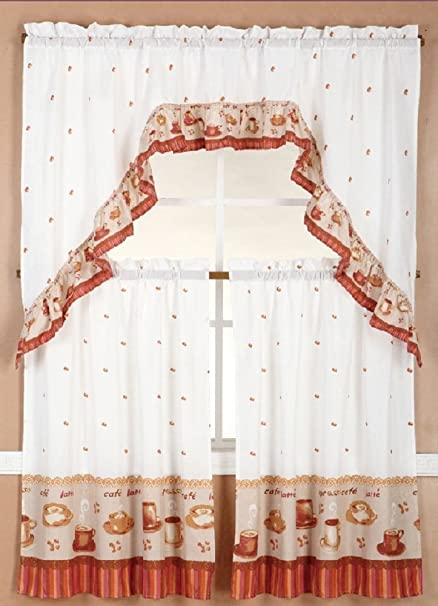 Linens And More 3 Piece Kitchen Curtain Set 2 Tiers 1 Valance Coffee