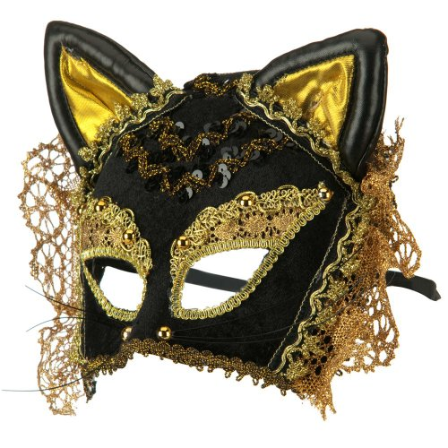 Black and Gold Velvet Cat Masquerade Costume Accessory Mask (New Orleans Costume)