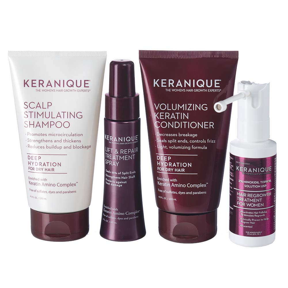Keranique Hair Regrowth System – 30 Days - Keratin Amino Complex - Free of Sulfates, Dyes and Parabens, Includes Shampoo and Conditioner, Minoxidil and Lift and Repair Spray for Dry Thinning Hair : Beauty